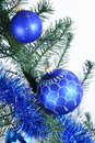 Two blue christmas ball Stock Image