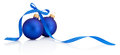 Two Blue Christmas balls with ribbon bow Isolated on white background Royalty Free Stock Photo