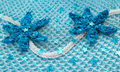 Two blue crocheted flower on a blue background reticular with sequins Stock Images