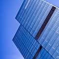 Two blue glass business skyscraper towers Royalty Free Stock Photos