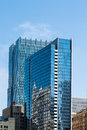 Two blue glass office towers in chicago buildings reflected a modern tower Stock Photography