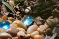 Two Blue Glass Pebbles Royalty Free Stock Photo