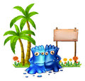 Two blue monsters standing in front of the empty board illustration on a white background Royalty Free Stock Photo