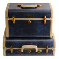 Two blue vintage suitcases Royalty Free Stock Images