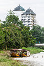 Two boat moored in ping river chiangmai thailand Royalty Free Stock Photography