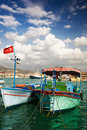 Two boats harbour alanya turkey middle east Royalty Free Stock Images