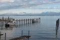 Two boats at the pier at lake Chiemsee Royalty Free Stock Photo