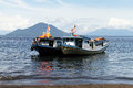 Two boats tourist near beach of krakatau in indonesia Stock Photo