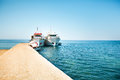 Two boats on wharf greece Royalty Free Stock Photography