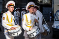 Two bored cadets with drums kyiv ukraine may in the kiev city day on may in kiev ukraine kiev city day is an annual festival at Stock Photos