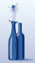 Two bottles on blu background Royalty Free Stock Photography