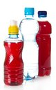 Two bottles with juce and water Royalty Free Stock Photo