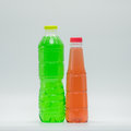 Two bottles of soft drink in modern plastic packaging Royalty Free Stock Photo