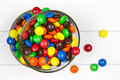 Two bowls piled filled with multicolor candies Stock Photos