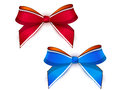 Two bows colorful ribbons correct form red and blue Stock Images