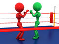Two boxers in a boxing ring on white background Royalty Free Stock Photos