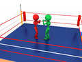 Two boxers in a boxing ring on white background Stock Photography