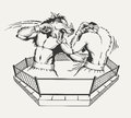 Two boxers fight with the body of man and a wolf's Royalty Free Stock Photo