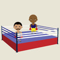 Two boxers waiting for a fight in the ring Royalty Free Stock Image