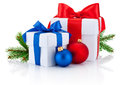 Two boxs tied ribbon bow, pine branch and christmas balls Isolated Royalty Free Stock Photo