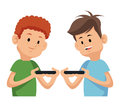 Two boy playing video game with moblie phone Royalty Free Stock Photo