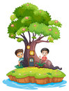Two boys at the back of the enchanted treehouse illustration on a white background Royalty Free Stock Photography