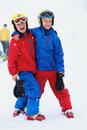 Two boys enjoying winter ski vacation Royalty Free Stock Photo
