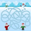 Two boys make two snowmen. Find whose is where? Children`s picture with a riddle Royalty Free Stock Photo