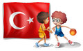 Two boys playing basketball in front of the flag of turkey illustration on a white background Royalty Free Stock Photos