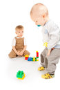 image photo : Two boys playing with blocks