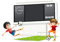 Two boys playing soccer with a scoreboard illustration of the on white background Royalty Free Stock Image