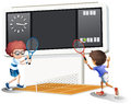 Two boys playing tennis with a big scoreboard illustration of the on white background Stock Images