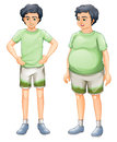 Two boys with same shirt but of different body sizes illustration the on a white background Stock Photo