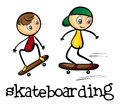 Two boys skateboarding illustration of the on a white background Royalty Free Stock Photo