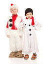 Two boys in the snowman costume funny Stock Photography