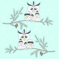 Two branches with birds. Friendly company. Owl and two birdies o