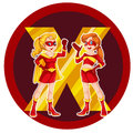 Two brave female superheroes illustration of the on a white background Stock Image