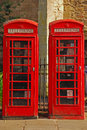 Two british red phone booth in cambridge Stock Image