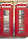 Two British red telephone boxes Royalty Free Stock Photo
