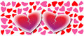 Two Broken Hearts On Hearts Background, Love Card Stock Photography