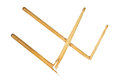 Two broken wooden drumsticks isolated on white Royalty Free Stock Photo