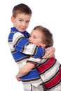 Two brothers hugging Royalty Free Stock Image