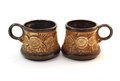 Two brown ceramic cofee cups Stock Photos