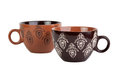 Two brown cups with pattern Royalty Free Stock Photo