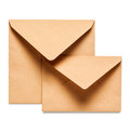 Two brown envelopes isolated on white background clipping path included Royalty Free Stock Photos