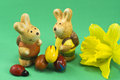 Two bunnys three eggs flower Stock Photography