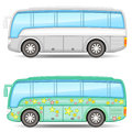Two buses icons of big colorful touristic with shadow Stock Image