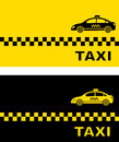 Two business card with taxi car simple silhouette Stock Photo