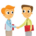 Two business man shaking hands isolated on white young men Stock Images