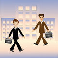 Two business men hurry on work vector illustration Stock Photos